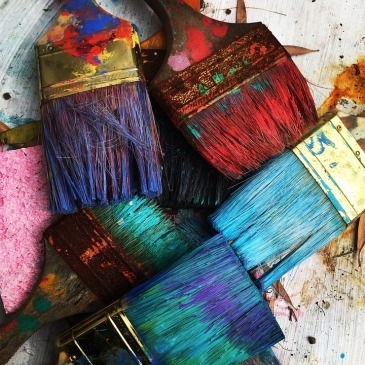 paint brushes with colors