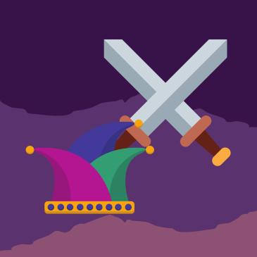 Medieaval-fools-hat-crossed-sparring-swords-hero-antihero-art
