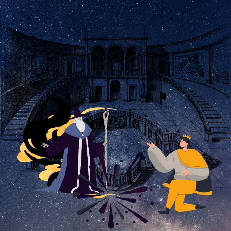 Philosopher wizard with emperor disciple in court performing magic under the starry sky