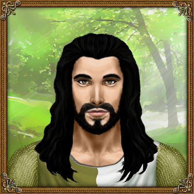 Pheidon hydranos fantasy avatar character portrait green forest meadow sunlight