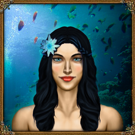 Vryx hydranos fantasy avatar female character portrait blue sea ocean