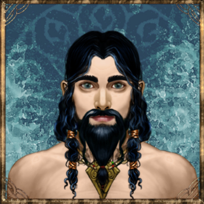 Hydrian hydranos fantasy avatar nation portrait blue water background