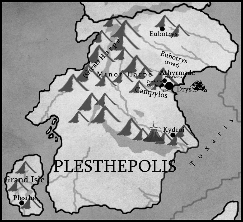 Plesthepolis black and white fantasy map of Hydranos