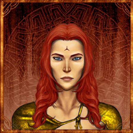 Pyrrhian hydranos fantasy avatar nation portrait red background