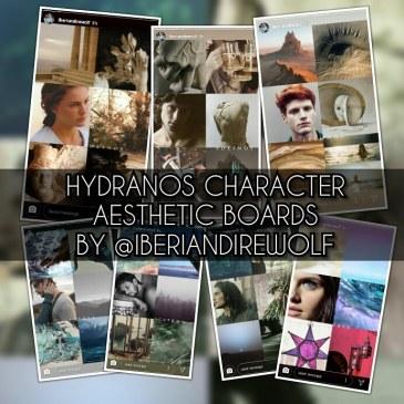 Hydranos fantasy book character aesthetic mood board by iberiandirewolf