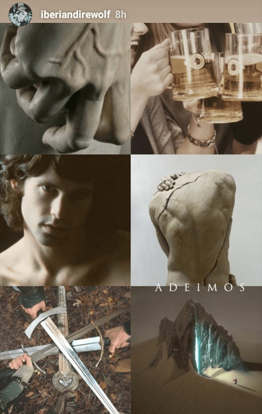 Adeimos Hydranos fantasy book character aesthetic mood board swords and beige colors