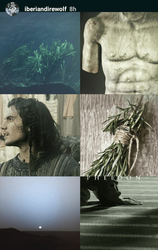 Pheidon Hydranos fantasy book character aesthetic mood board green beige colors