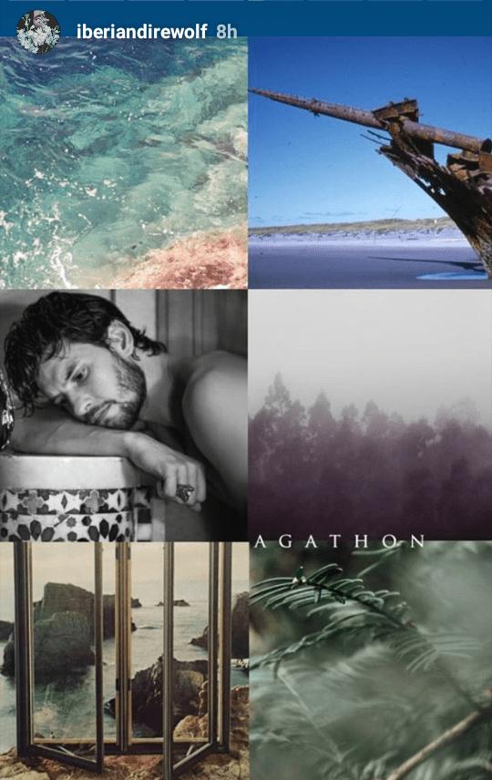 Agathon Hydranos fantasy book character aesthetic mood board melancholy gloomy person woods sea