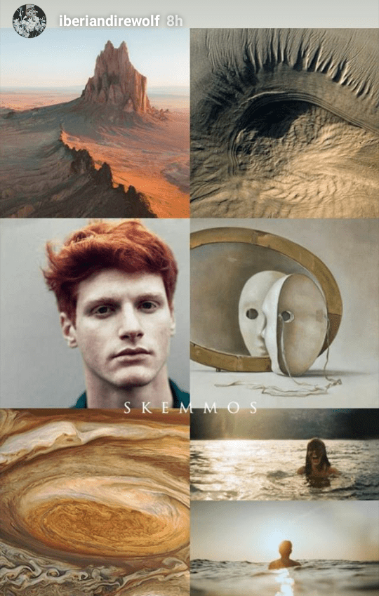 Skemmos Hydranos fantasy book character aesthetic mood board bronze red beige colors with desert and mask