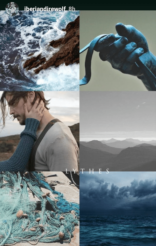 Lythes Hydranos fantasy book character aesthetic mood board navy blue ocean colors