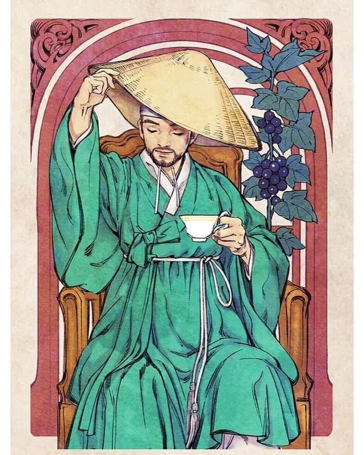 yangban-wanderer-traveler-joseon-korean-traditional-costume-with-hat-art-nouveau