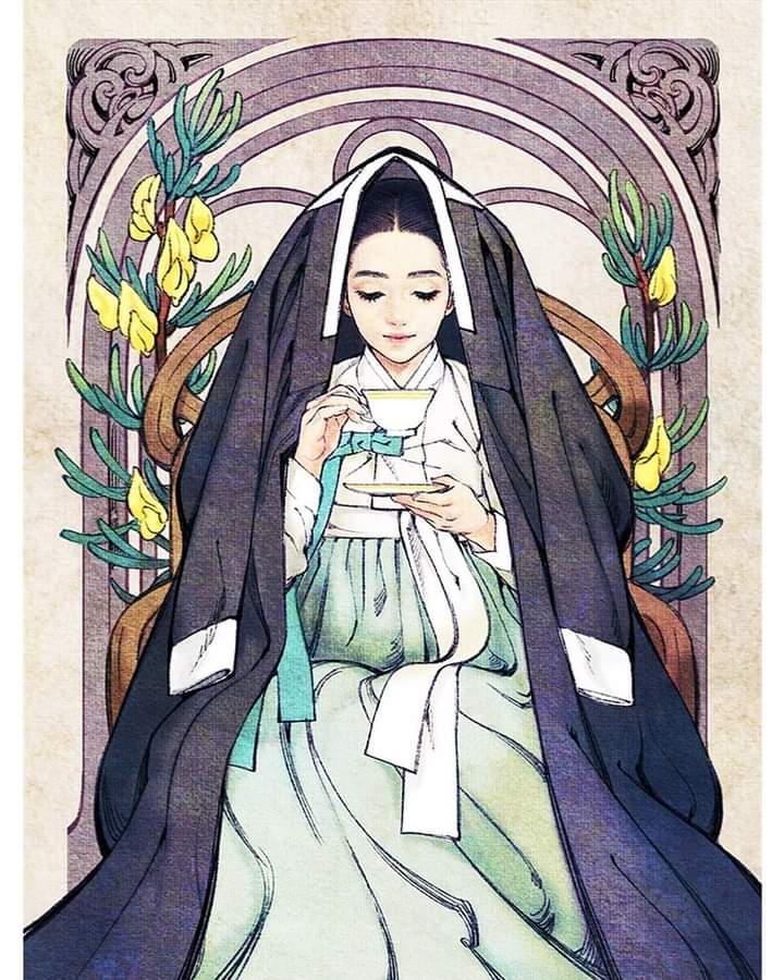 noble-lady-joseon-korean-traditional-costume-hanbok-art-nouveau