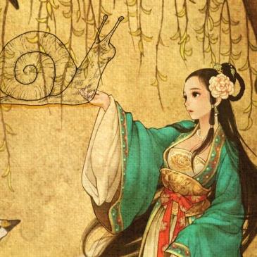 korean fairy seonnyeo snail bride with swan and snail