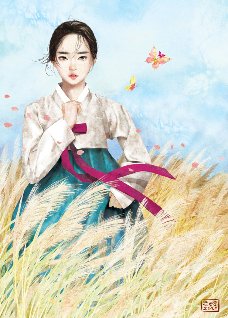 girl-in-wheat-field-with-butterfly-and-traditional-korean-costume-hanbok