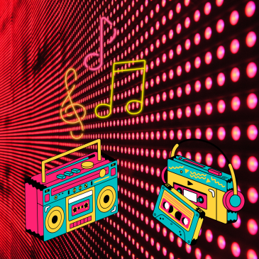 80s-and-90s-music-notes-sol-key-neon-lights-with-audio-cassette-player-walkman