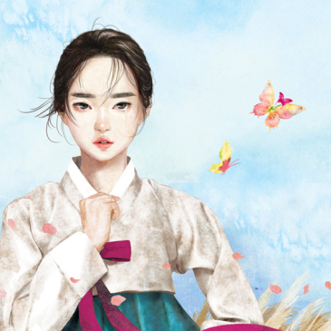 girl-in-wheat-field-with-butterfly-joseon-korean-traditional-costume-hanbok