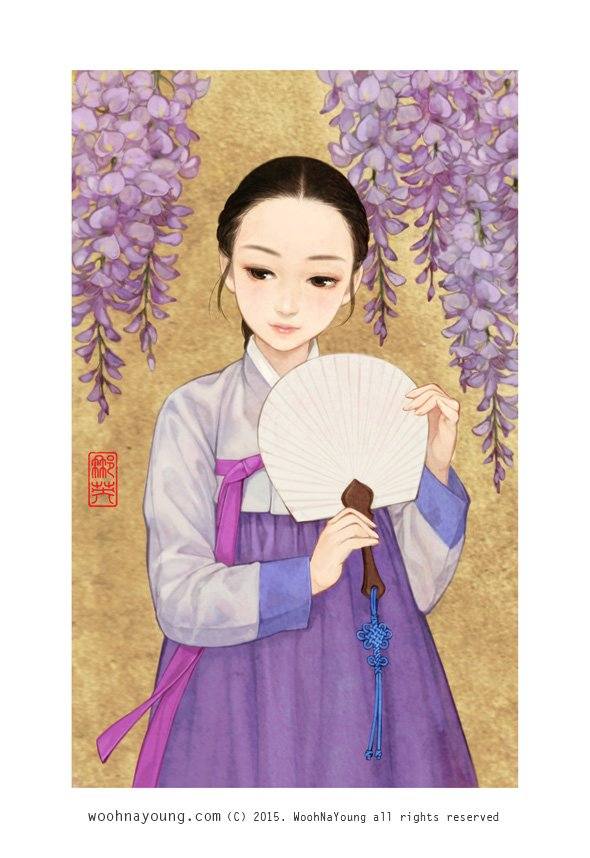 Girl in Korean traditional hanbok clothes holding fan with Wisteria flower by Wooh Na-young