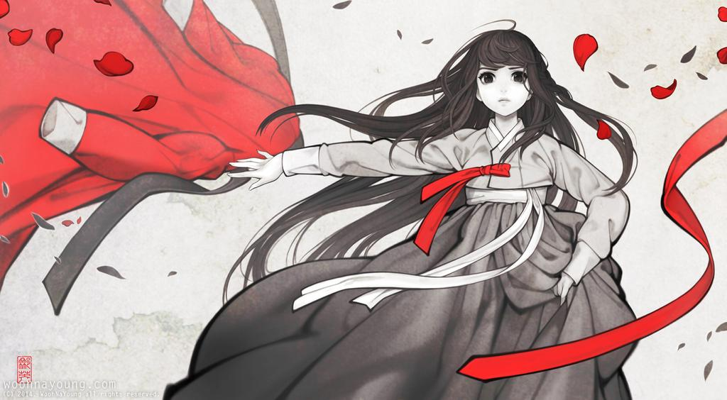 Unleashed angry Korean girl in hanbok in black white and red by Wooh_Na-young