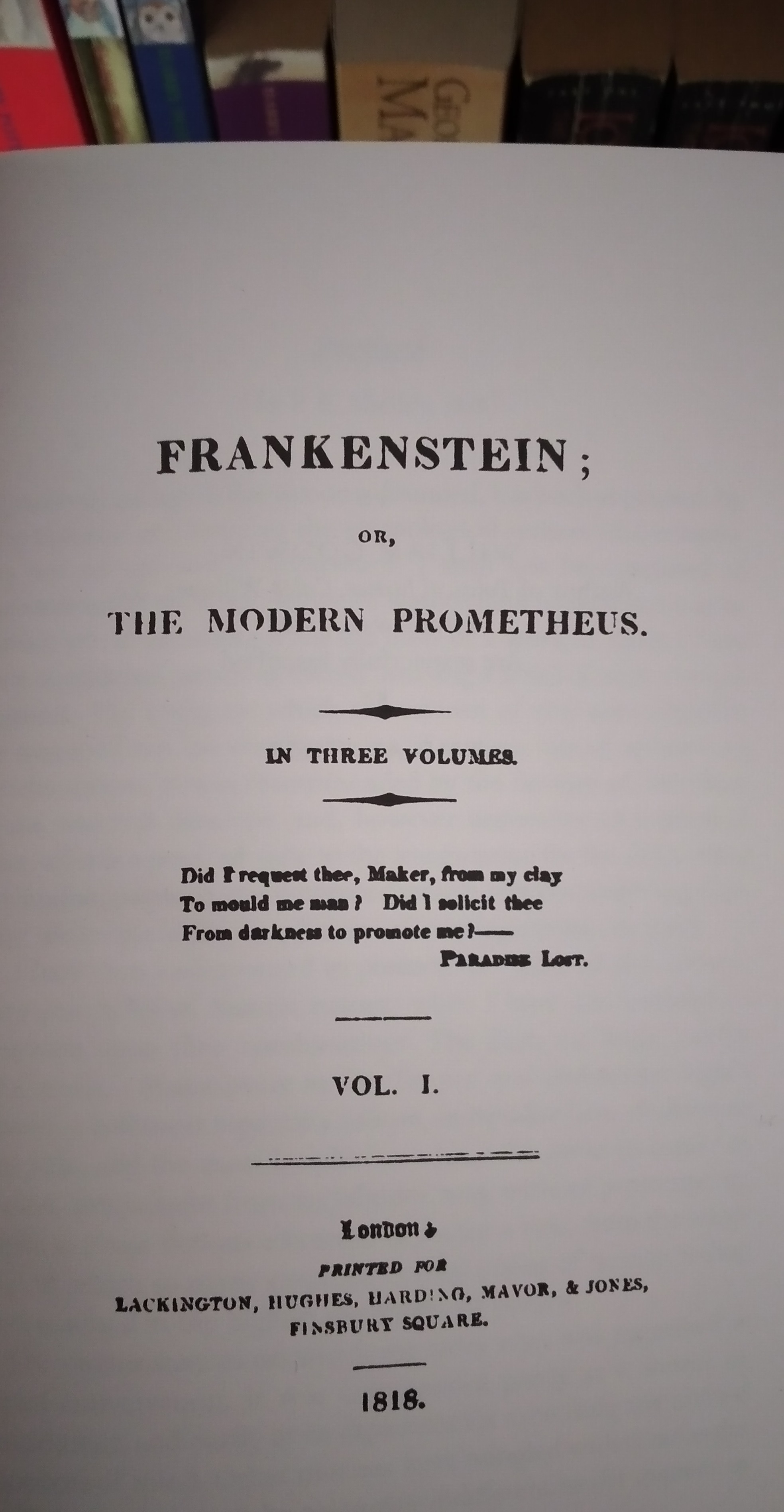 Mary Shelley Frankenstein first edition front matter page