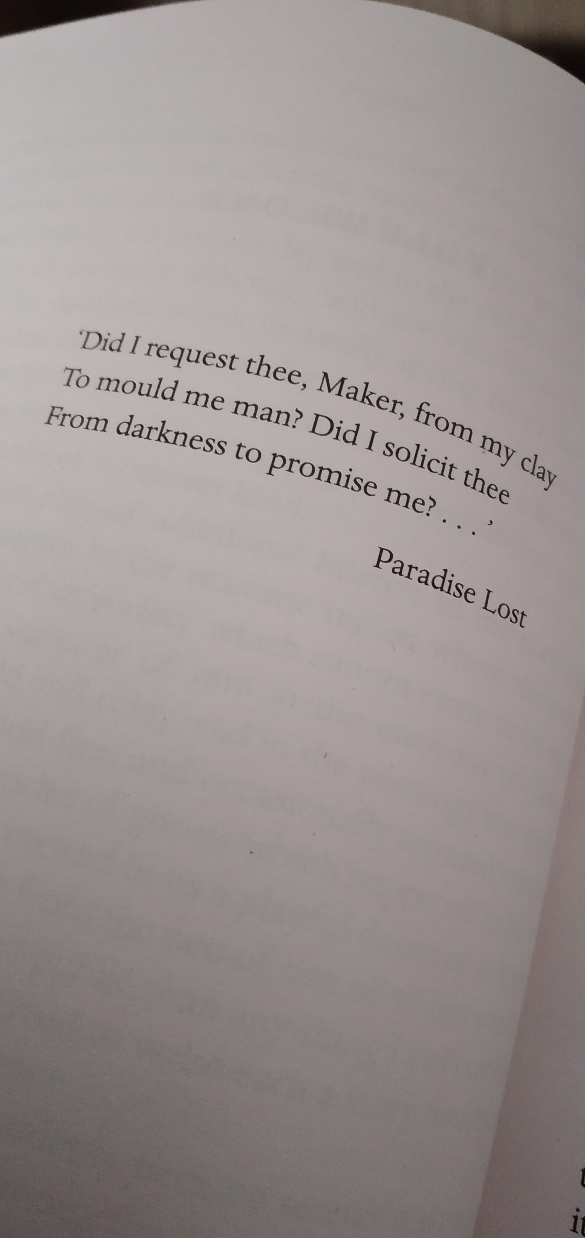 Mary Shelley Frankenstein John Milton Paradise Lost quote