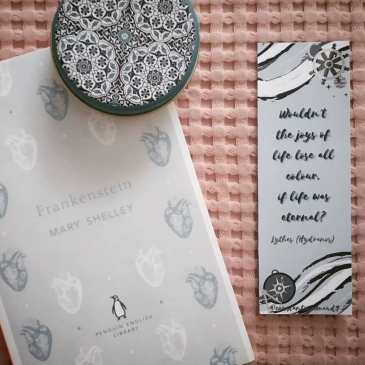 Penguin English Library Frankenstein book by Mary Shelley and Hydranos fantasy novel bookmark