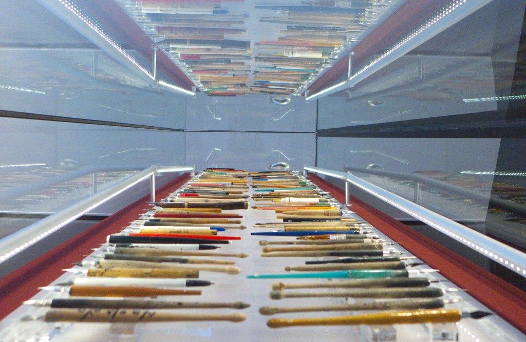 paint brushes display in Korean Manhwa Museum in Bucheo